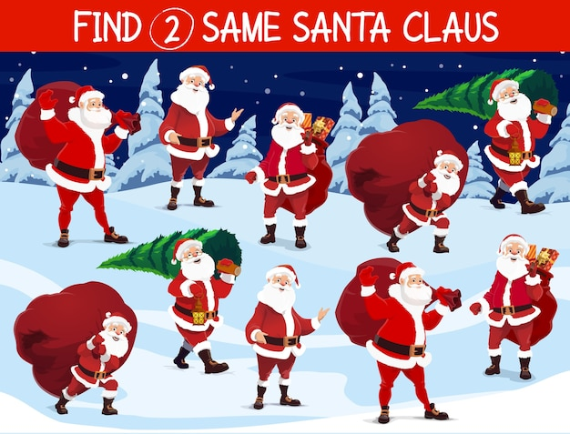 Find same santa game, christmas holidays activity for kids. happy santa claus character carrying big sack with holiday gifts, cutting christmas tree and walking with in snowy forest cartoon