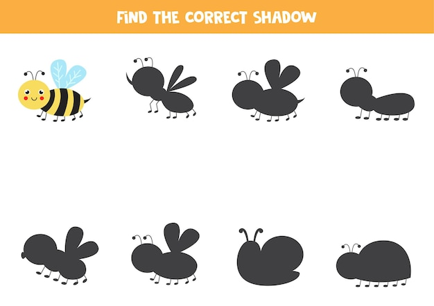 Find shadow of cute kawaii bee. logical game for kids.
