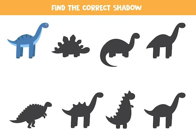 Найдите тень милого мультяшного диплодока. логическая игра для детей.