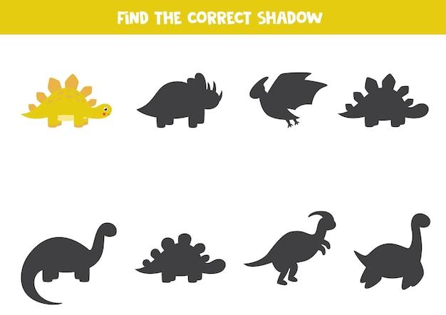 Найдите тень милого мультяшного стегозавра. логическая игра для детей.