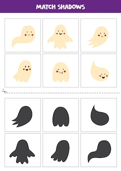 Find shadows of cute halloween ghosts. cards for kids.