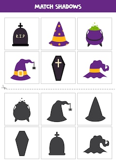 Find shadows of cute halloween pictures. cards for kids.