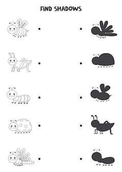 Find shadows of cute insects. black and white worksheet. educational logical game for kids.