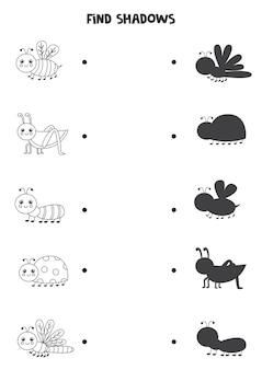 귀여운 곤충의 그림자를 찾으십시오. 흑백 워크 시트. 아이들을위한 교육 논리 게임.