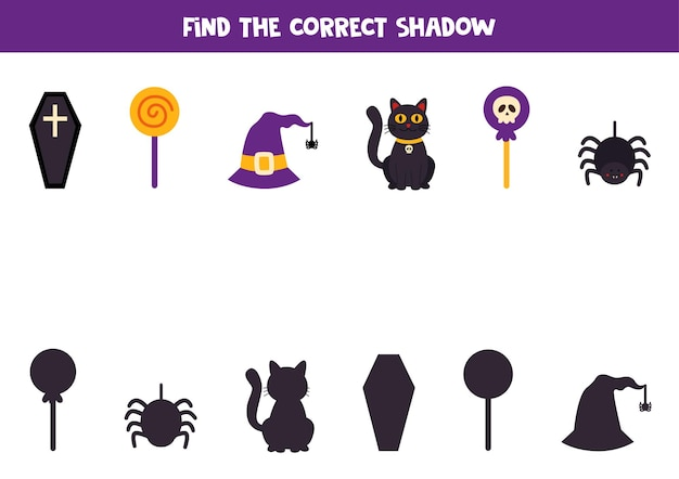 Find shadowsfind the correct shadows of cute halloween elements. logical puzzle for kids.