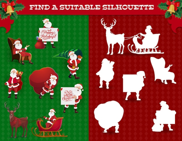 Find silhouette kids game, christmas maze with santa character. children game with matching activity and comparison task, preschooler child riddle with santa claus, reindeer and gifts cartoon