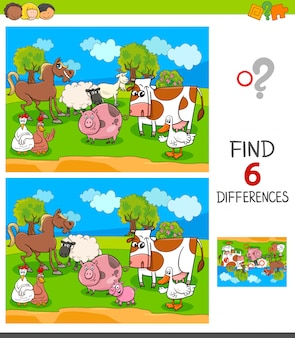 Find six differences game with farm animal characters