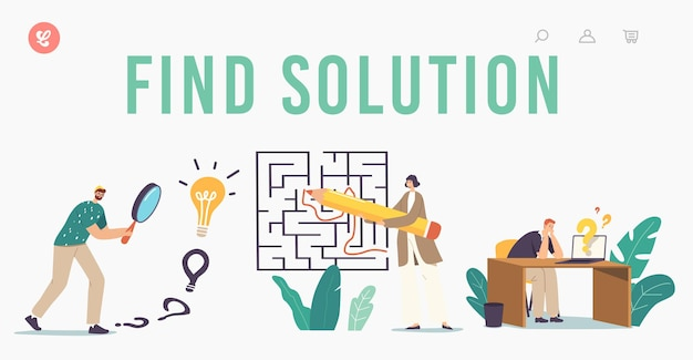 Find solution, challenge and problem solving landing page template. characters finding idea and answer in labyrinth. confused people at maze thinking how to pass way. cartoon vector illustration
