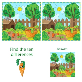 Найдите десять отличий между двумя изображениями моркови в саду