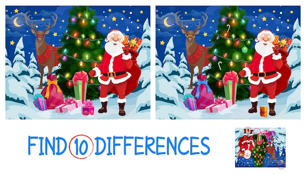 Find ten differences kid game with christmas tree, santa and reindeer. santa claus with gift sack, decorated with garland spruce and gifts cartoon . child educational game with matching task
