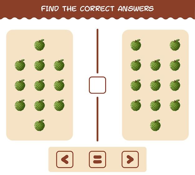 Найдите правильные ответы мультяшного заварного яблока. игра на поиск и подсчет. развивающая игра для дошкольников и малышей