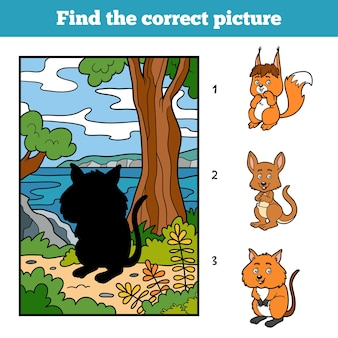 올바른 그림 찾기, 어린이용 게임. 쿼카와 배경