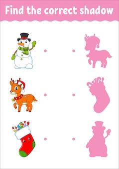 Найдите правильную тень. олень, снеговик, носок. рабочий лист развития образования. игра для детей.