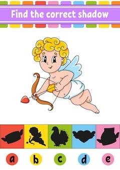 Найдите правильную тень. рабочий лист развития образования. страница активности. день святого валентина.