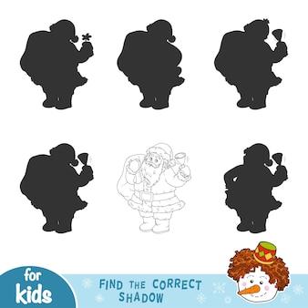 Найди правильную тень, развивающая игра для детей. черно-белый санта-клаус