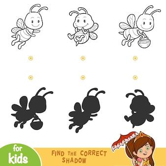 올바른 그림자, 어린이를 위한 교육 게임을 찾아보세요. 꿀벌의 흑백 세트