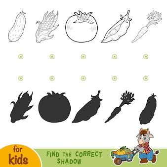 Найди правильную тень, развивающая игра для детей. черно-белые овощи