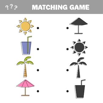 올바른 그림자, 어린이를 위한 교육 게임을 찾아보세요. 여름 휴가를 위한 다채로운 벡터 개체 세트 - 일치하는 게임