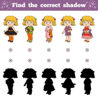 Найди правильную тень, развивающая игра для детей, девочки