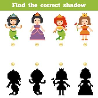 子供のための正しい影、教育ゲームを見つけてください。漫画のおとぎ話のキャラクターのセット