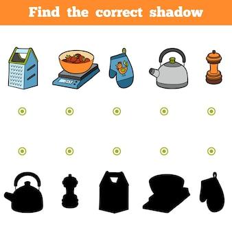 Найди правильную тень, развивающая игра для детей. набор кухонной утвари