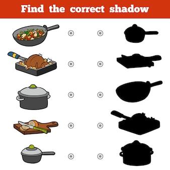 子供のための正しい影、教育ゲームを見つけてください。台所用品一式