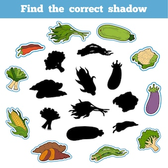 Найди правильную тень, развивающая игра для детей. тайские овощи