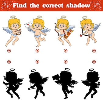 子供のための正しい影、教育ゲームを見つけてください。バレンタインデーのキャラクター、天使