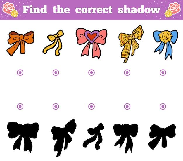 올바른 그림자, 어린이를 위한 교육 게임을 찾아보세요. 활의 벡터 만화 세트