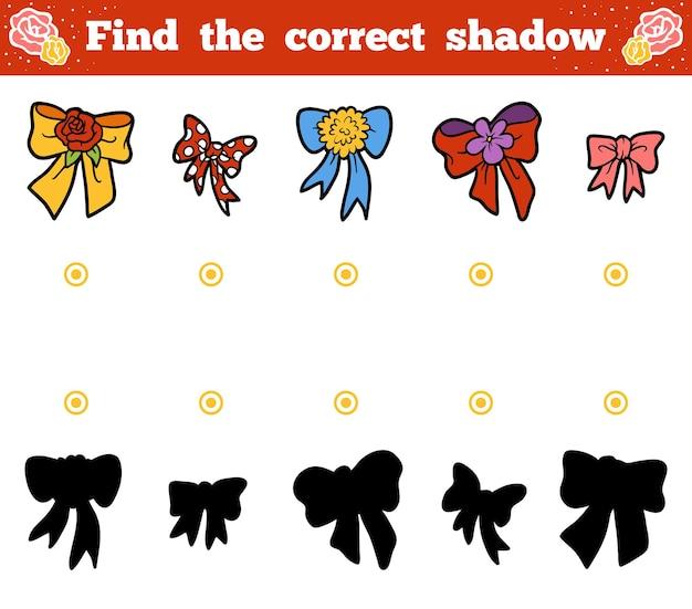 Найди правильную тень, развивающая игра для детей. векторный мультфильм набор бантов