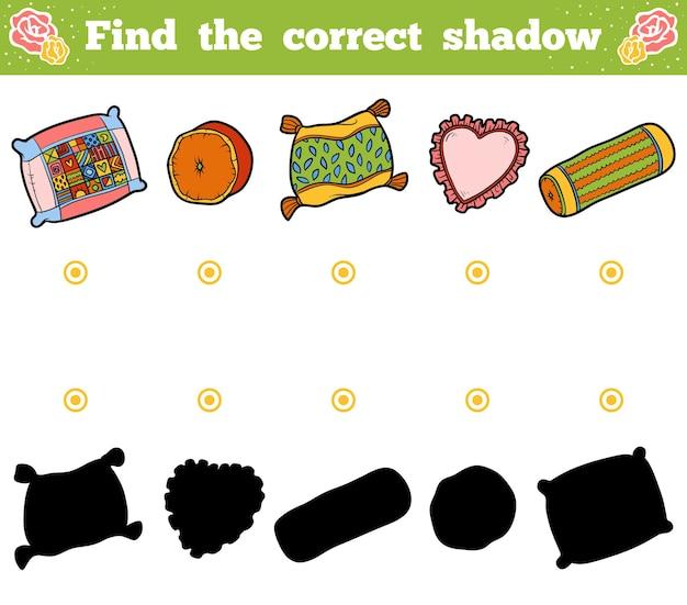 子供のための正しい影、教育ゲームを見つけてください。枕のベクトル漫画セット