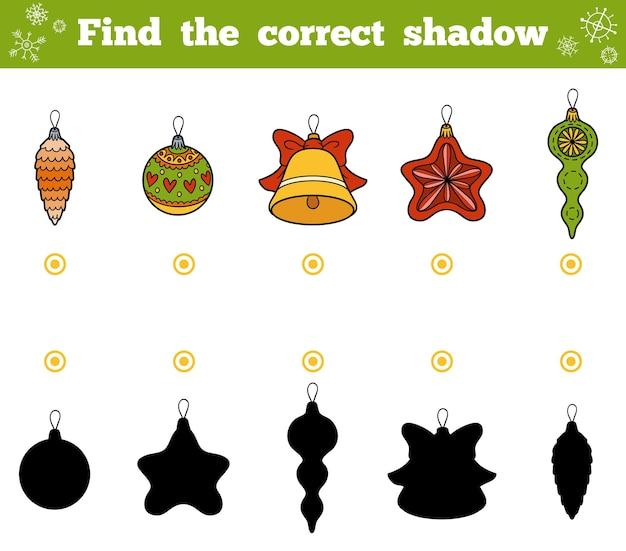 子供のための正しい影、教育ゲームを見つけてください。クリスマスツリーのおもちゃのベクトルセット