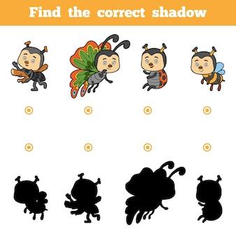 올바른 그림자, 어린이를 위한 교육 게임을 찾아보세요. 곤충의 벡터 세트