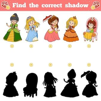 Найди правильную тень, развивающая игра для детей. векторный набор принцессы