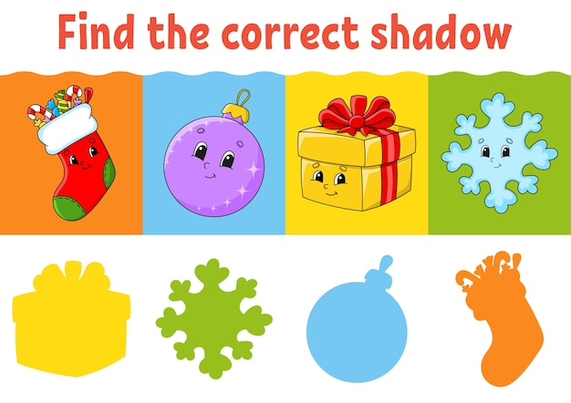 正しい影を見つけてください。教育ワークシート。子供のためのマッチングゲーム。カラーアクティビティページ。