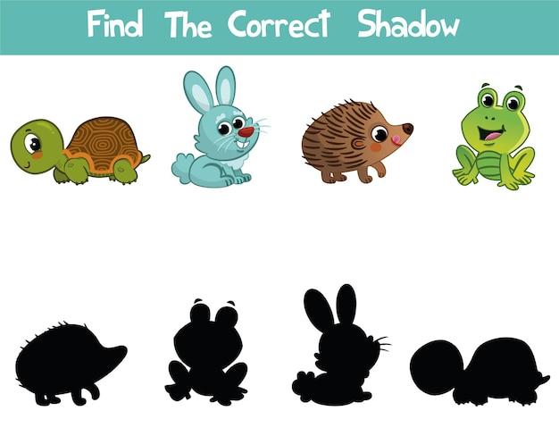 올바른 그림자 찾기 어린이를 위한 교육용 게임 어린이를 위한 벡터 일러스트레이션