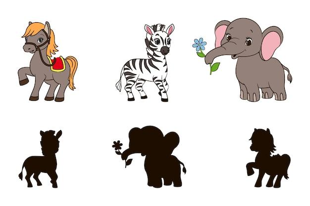Найдите правильную теневую обучающую игру для малышей, мультяшный слон, лошадь и вектор зебры