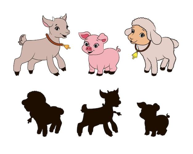 Найдите правильную теневую развивающую игру для малышей, мультяшный козел, свинья и ягненок, вектор
