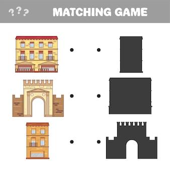 Найдите правильную тень. развивающая игра для детей. векторные иллюстрации шаржа