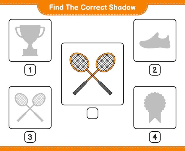 正しい影を見つけるバドミントンラケットの正しい影を見つけて一致させる