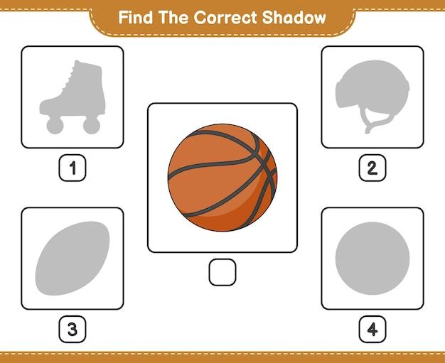 올바른 그림자 찾기 농구 교육 어린이 게임의 올바른 그림자를 찾아 일치시킵니다.