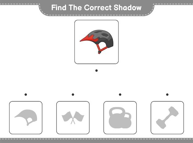 Найдите правильную тень. найдите и сопоставьте правильную тень велосипедного шлема. развивающая детская игра, лист для печати