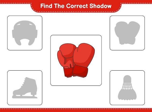 正しい影を見つけてください。ボクシンググローブの正しい影を見つけて一致させる
