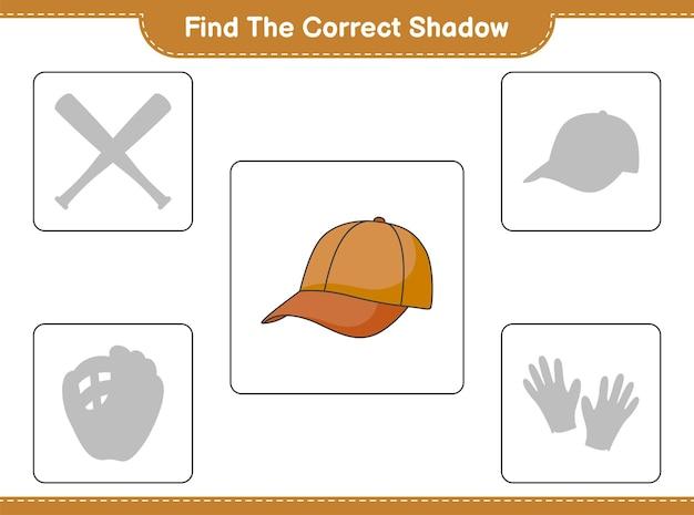 Найти правильную тень. найти и сопоставить правильную тень кепки шляпы. развивающая детская игра