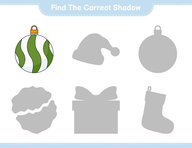 Найдите правильную тень найдите и сопоставьте правильную тень рождественского шара