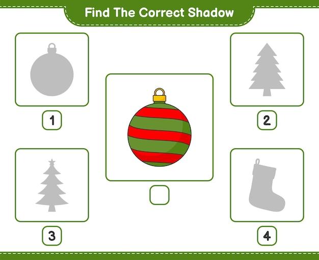 올바른 그림자 찾기 크리스마스 공의 올바른 그림자를 찾아 일치시킵니다.