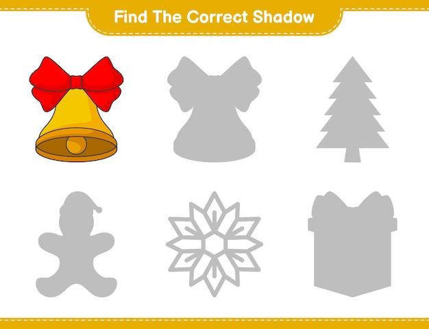 Найдите правильную тень найдите и сопоставьте правильную тень рождественского колокола
