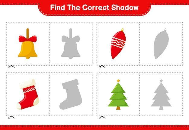 Найдите правильную тень. найдите и сопоставьте правильную тень рождественского украшения. развивающая детская игра
