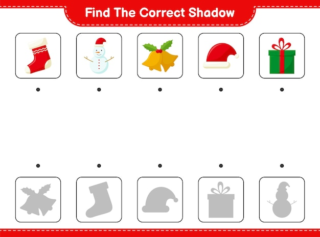 正しい影を見つけてください。クリスマスデコレーションの正しい影を見つけて一致させます。