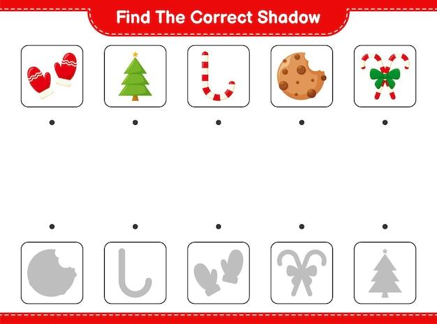 Найдите правильную тень. найдите и сопоставьте правильную тень рождественского украшения.